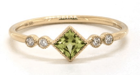 14K Yellow Gold Peridot - Diamond Ring