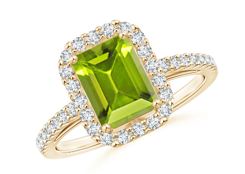 Emerald-Cut Peridot Halo Ring