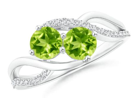 Two-Stone Peridot Bypass Ring with Diamonds