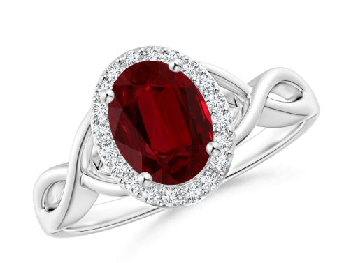 GIA Oval Ruby Infinity Ring with Diamond Halo