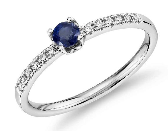 Petite Sapphire Diamond Ring