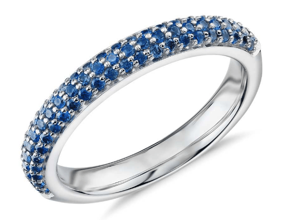 Triple Row Pavé Sapphire Fashion Band