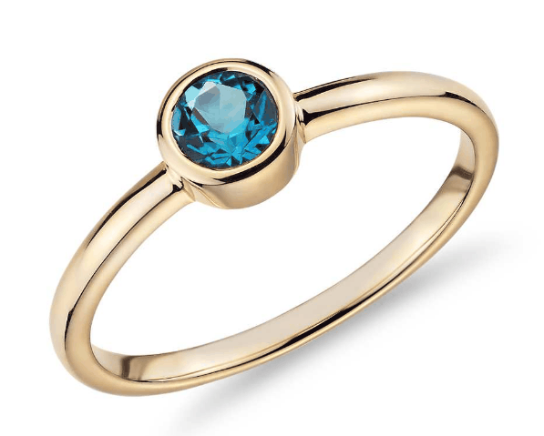 Bezel-Set Swiss Blue Topaz Ring