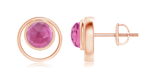 Bezel Set Pink Tourmaline Stud Earrings
