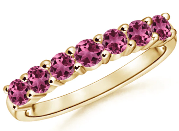 Half Eternity 7 Stone Pink Tourmaline Wedding Band