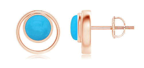 Bezel Set Turquoise Concentric Circle Stud Earrings