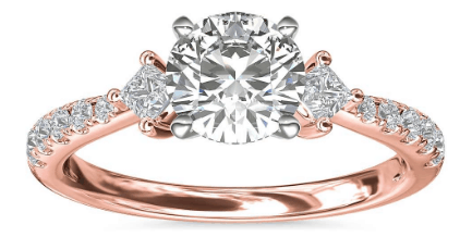 East-West Sidestone and Pavé Diamond Engagement Ring
