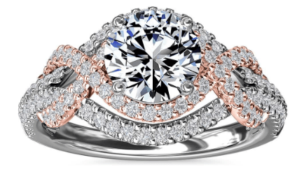 Two-Tone Intertwined Double Halo Diamond Engagement Ring