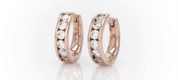 14K rose gold Mini Channel-Set Hoop Earrings