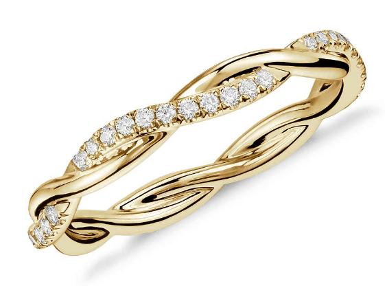 14K Gold Petite Twist Diamond Eternity Ring