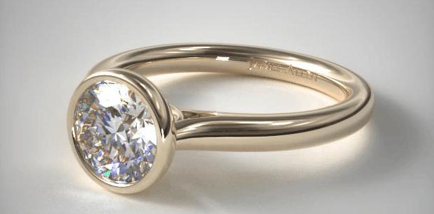 14K Yellow Gold Bezel Set Diamond Engagement Ring