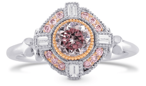 Fancy Intense Purplish Pink Round Diamond Engagement Ring