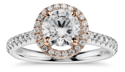 Floating Halo Diamond Mixed Metal Engagement Ring
