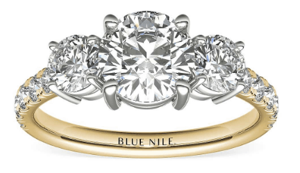 Classic Three-Stone Pavé Diamond Engagement Ring