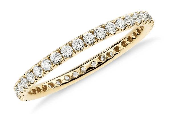 18K Yellow Gold Riviera Pavé Diamond Eternity Ring