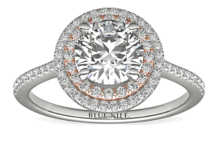 Two-Tone Petite Double Halo Engagement Ring