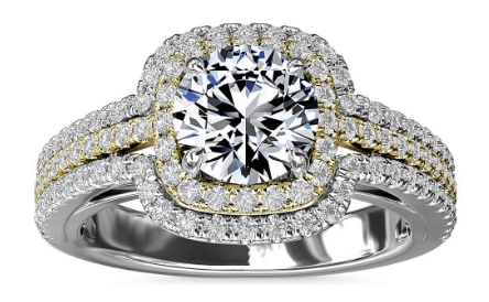 Two-Tone Three Row Cushion Halo Diamond Engagement Ring