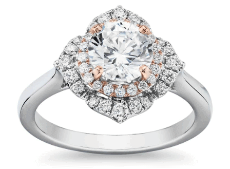 Two-Tone Floral Halo Diamond Engagement Ring