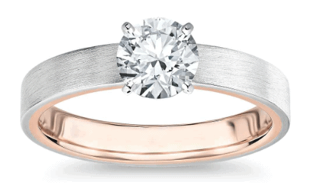 Matte Two-Tone Solitaire Diamond Engagement Ring