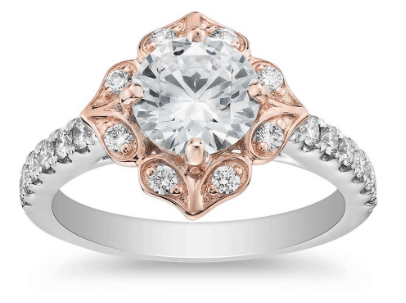 Vintage Two-Tone Floral Shield Halo Engagement Ring