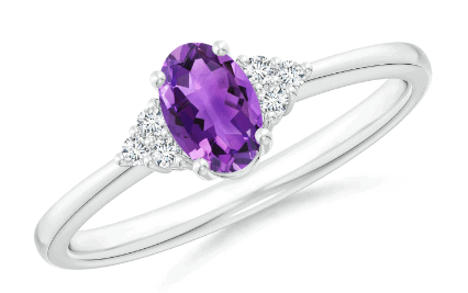 Oval Amethyst Ring with Trio Diamond Accents