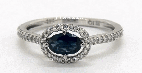 Sapphire and Diamond Floating Halo Ring