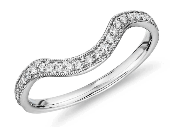 Milgrain Curved Diamond Wedding Ring