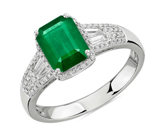 Emerald Halo Engagement Ring