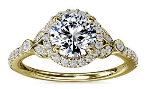 Petite Pavé Leaf Halo Diamond Engagement Ring