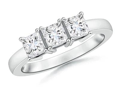 Three Stone Moissanite Engagement Ring