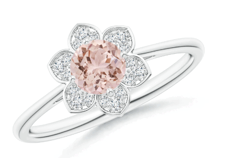 Morganite Cocktail Ring with Floral Diamond Halo