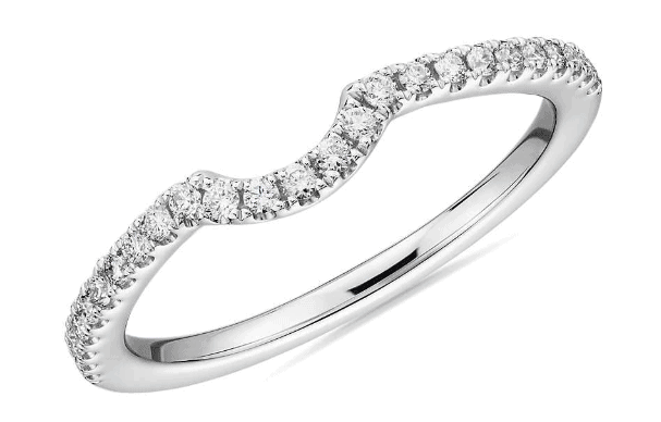Curved Pavé Diamond Wedding Ring