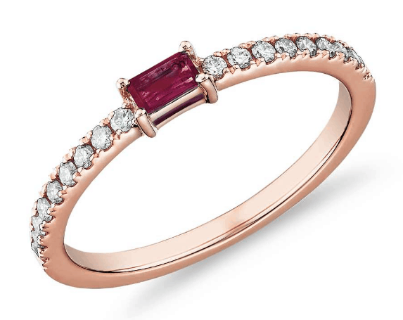Baguette Ruby and Diamond Pavé Ring