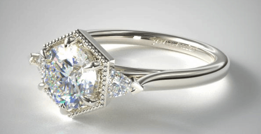 Hexagonal Trillion Side Stone Diamond Engagement Ring