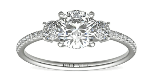 Petite Micropavé Trio Diamond Engagement Ring