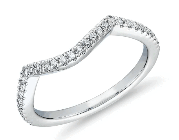 Petite Twist Curved Diamond Wedding Ring