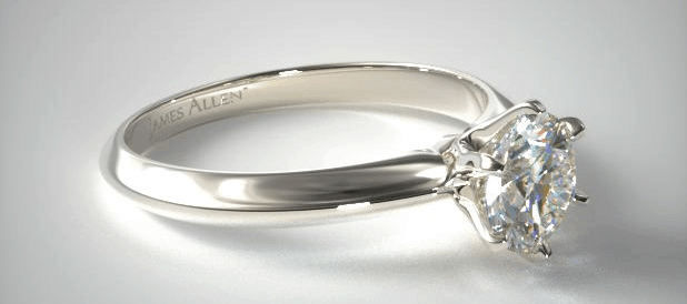 White Gold Six Prong Knife Edged Solitaire Engagement Ring