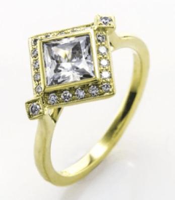 Princess cut bezel set halo engagement ring
