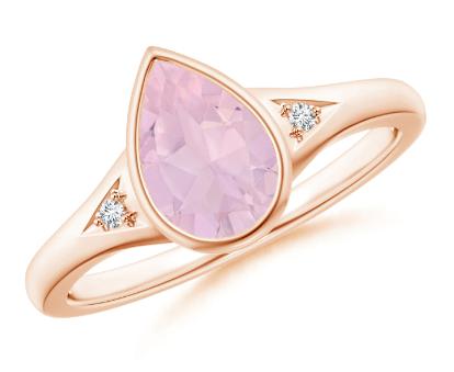 Bezel-Set Pear Rose Quartz Ring