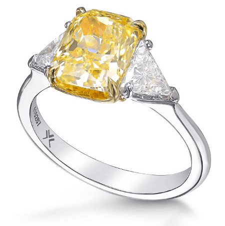 Yellow Cushion 3 Stone Trillion Diamond Ring