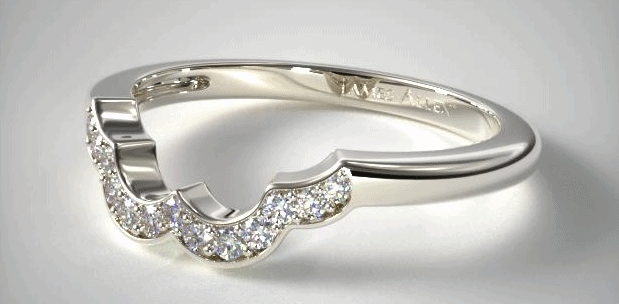 14K White Gold Art Deco Inspired Wedding Ring