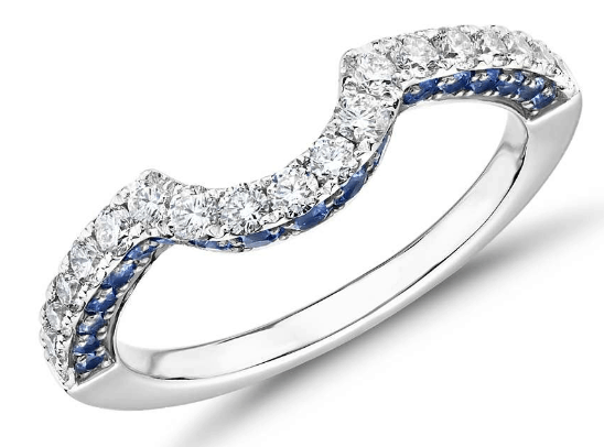 Curved Sapphire and Diamond Ring