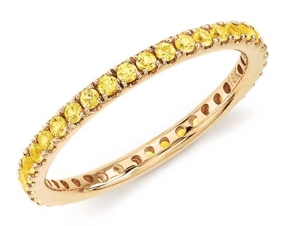 Riviera Pavé Yellow Sapphire Eternity Ring
