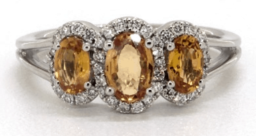 Three Stone Halo Yellow Sapphire and Diamond Ring