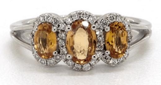 Three Stone Halo Yellow Sapphire and Diamond Ring