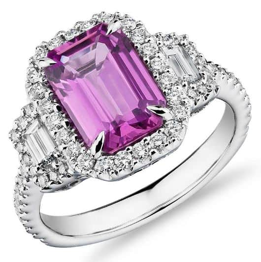 Emerald-Cut Pink Sapphire Ring