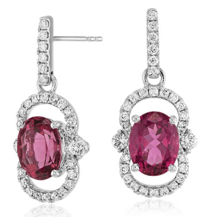 Oval Pink Tourmaline and Diamond Halo Drop Earrings