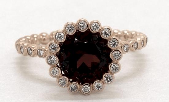 Rose Gold Garnet And Diamond Studded Beaded Halo Ring