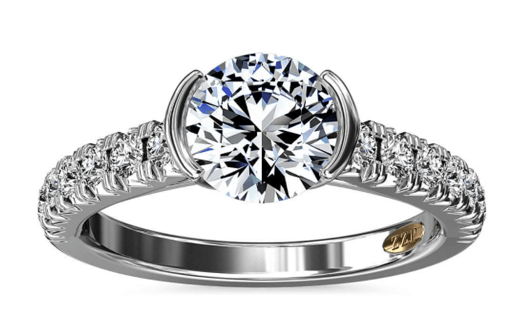 Zac Posen Semi-Bezel Pave Diamond Engagement Ring