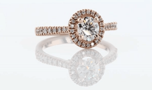 Rose gold diamond engagement ring from Blue Nile